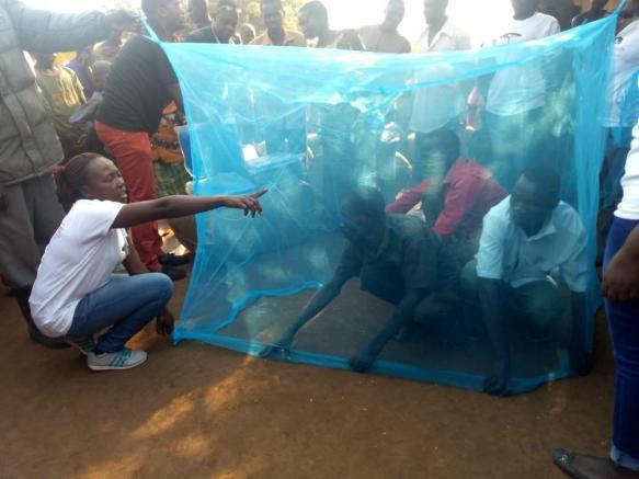 kihojo bed net demo with three men